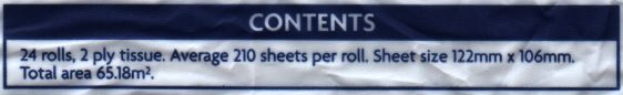 Contents: 24 rolls, 2 ply tissue. Average 210 sheets per roll. Sheet size 122mm x 106mm. Total area 65.18m².