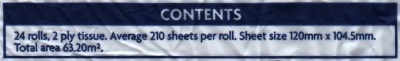 Contents: 24 rolls, 2 ply tissue. Average 210 sheets per roll. Sheet size 120mm x 104.5mm. Total area 63.20m².